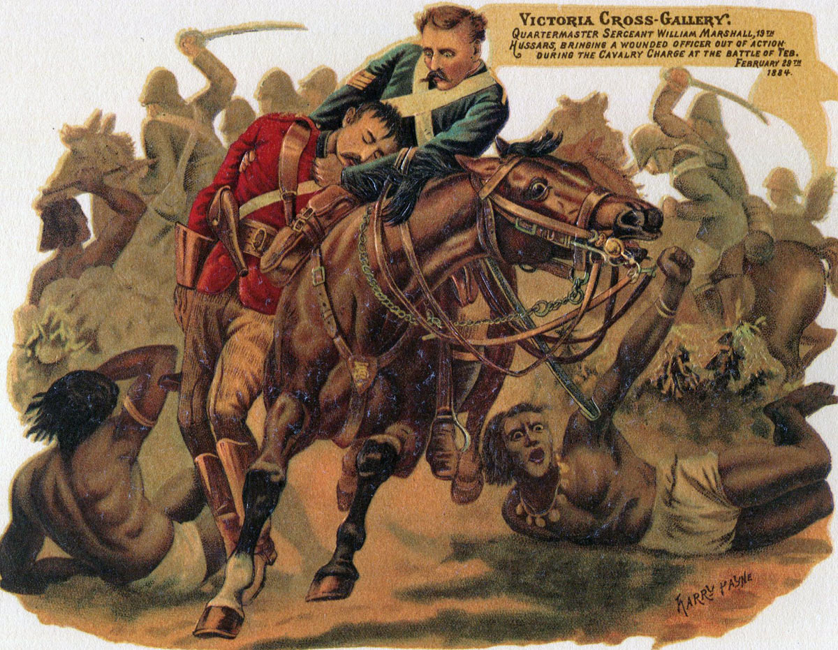 Sergeant Marshall winning the Victoria Cross at the Battle of El Teb on 29th February 1884 in the Sudanese War by rescuing his commanding officer, Lt Col Barrow of the 19th Hussars: picture by Harry Payne