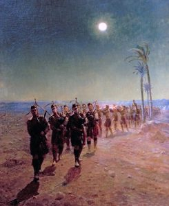 'Lament in the Desert': Queen's Own Cameron Highlanders burying their casualties: Battle of Atbara on 8th April 1898 in the Sudanese War: picture by Lady Butler
