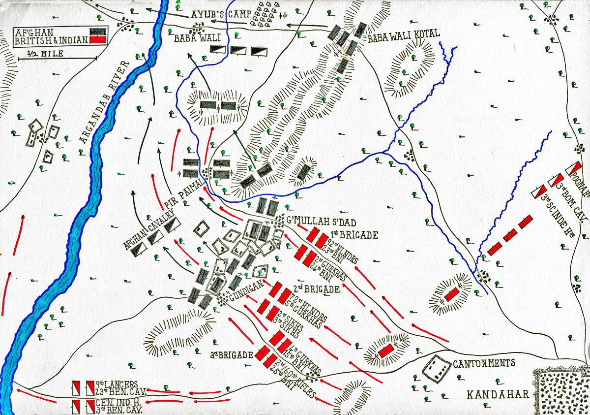 Map of the Battle of Kandahar on 1st September 1880 in the Second Afghan War: map by John Fawkes