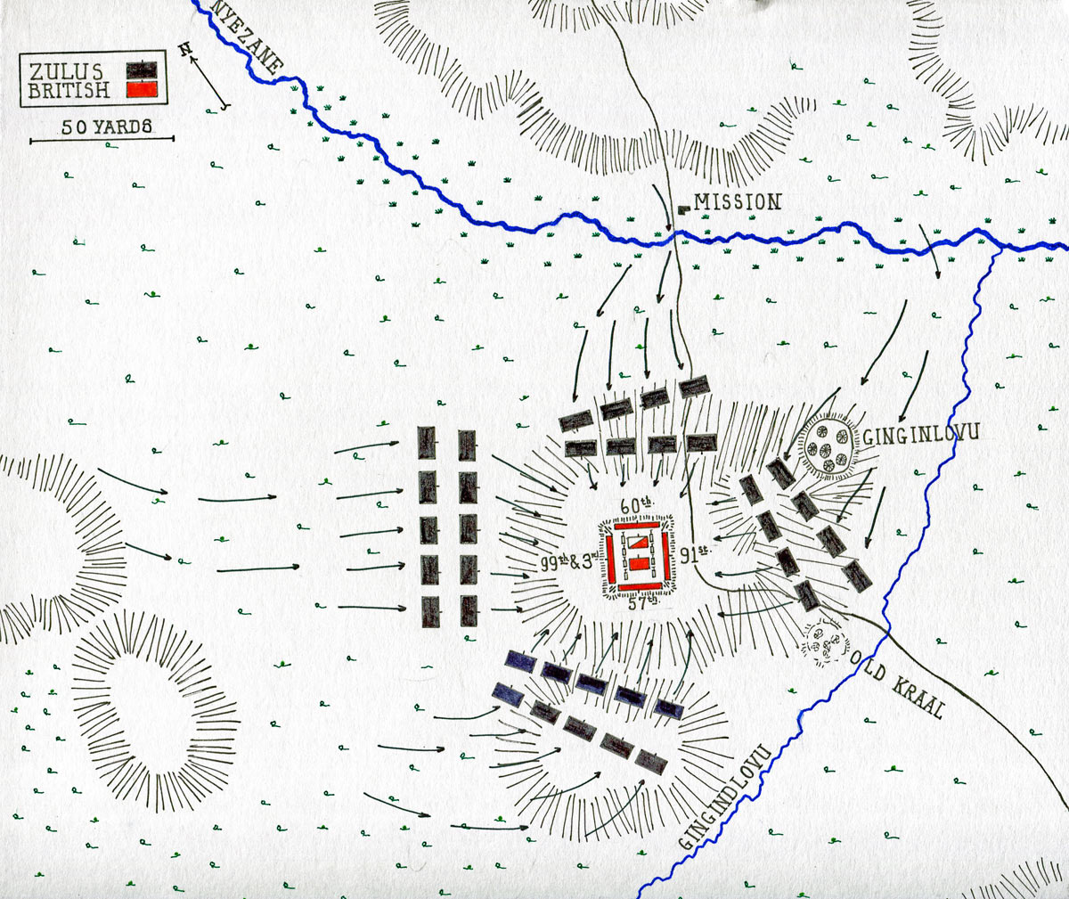 Map of the Battle of Gingindlovu on 2nd April 1879 in the Zulu War: map by John Fawkes