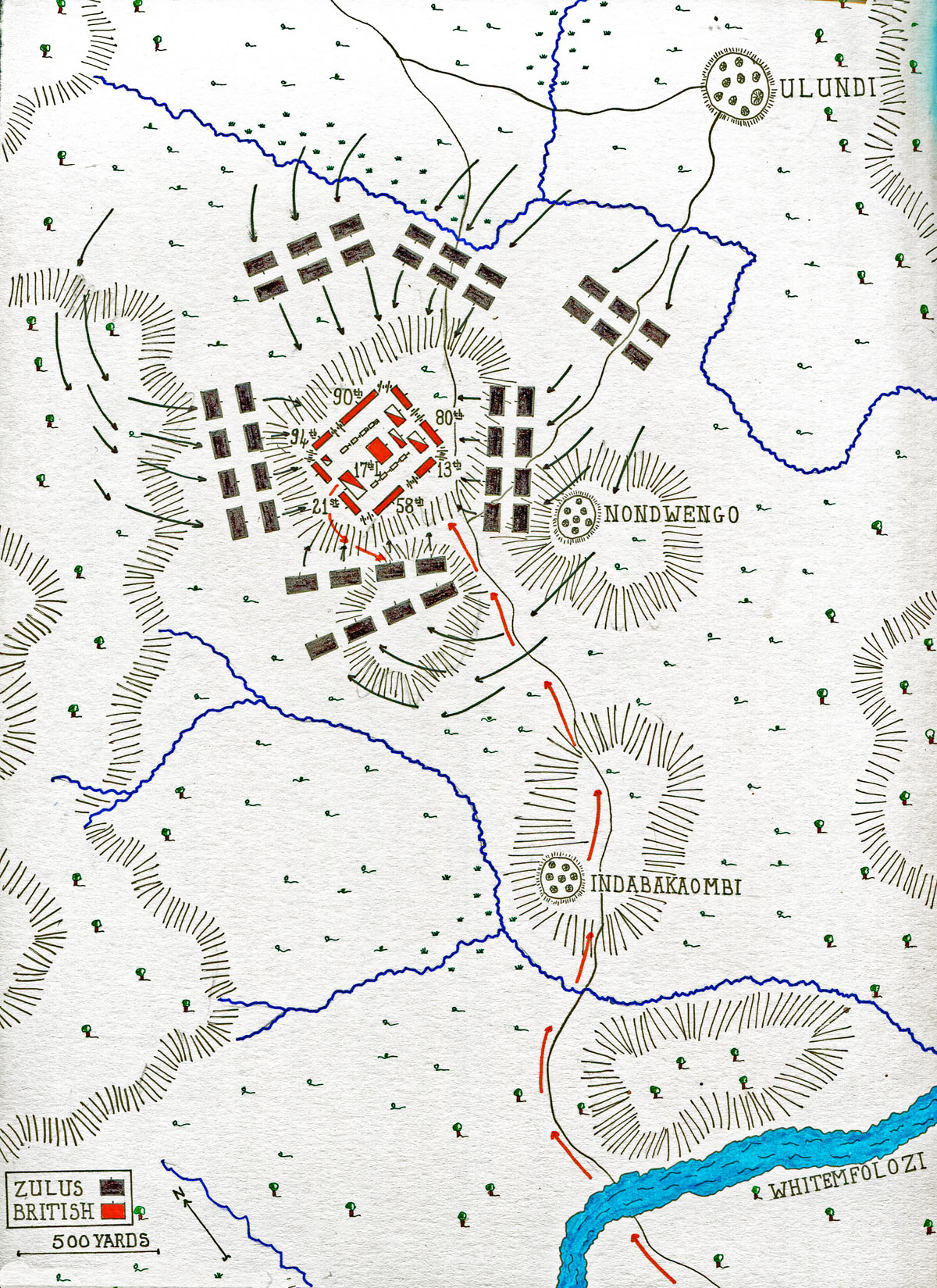 Map of the Battle of Ulundi on 4th July 1879 in the Zulu War: map by John Fawkes