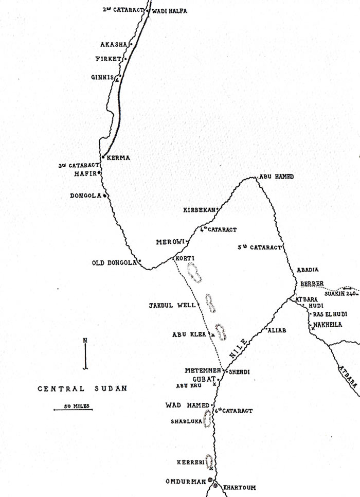Map of the River Nile in the Sudan: Battle of Abu Klea on 17th January 1885 in the Sudanese War: map by John Fawkes