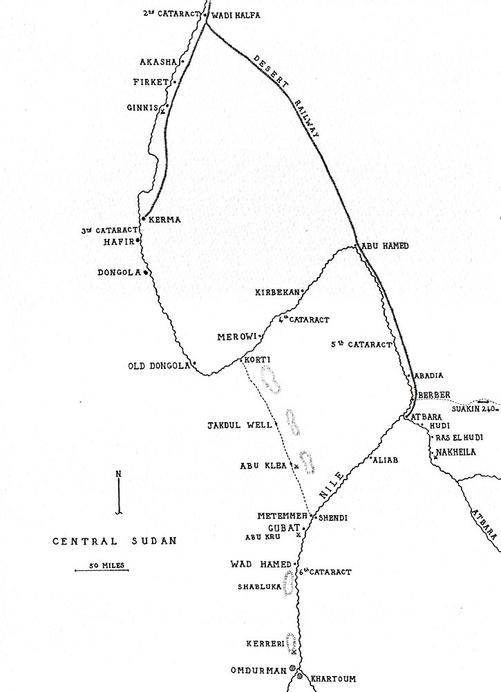 Map of the Sudan: Battle of Atbara on 8th April 1898 in the Sudanese War: map by John Fawkes
