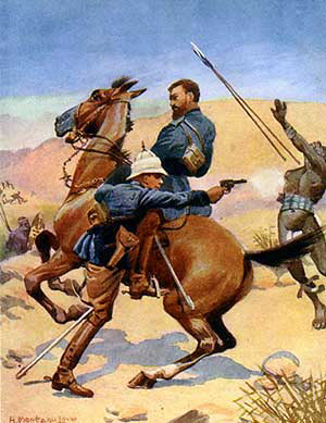 Colonel Buller winning the VC by rescuing one of his officers on Hlobane Mountain: Battle of Khambula on 29th March 1879 in the Zulu War