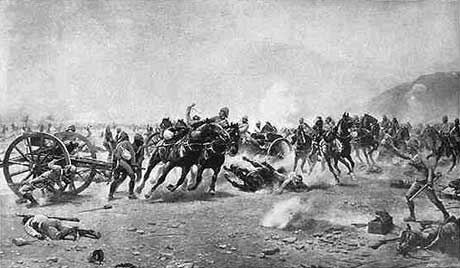 Saving the guns at the Battle of Maiwand on 26th July 1880 in the Second Afghan War