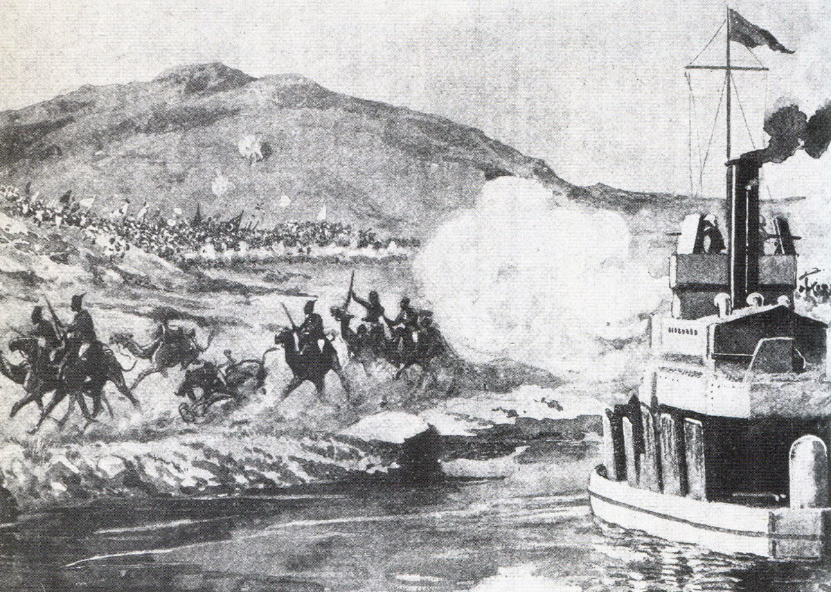 River Nile gunboat firing in support of the Camel Corps at the Battle of Omdurman on 2nd September 1898 in the Sudanese War