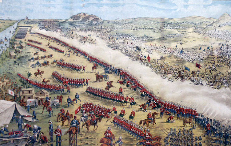 Battle of Omdurman on 2nd September 1898: a contemporary Victorian propaganda print showing the Main Dervish attack on the trench line along the River Nile backed by the Nile steamers