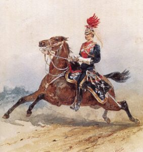 12th Lancer in Home Service Uniform: Battle of Paardeburg on 27th February 1900 in the Great Boer War: picture by Orlando Norie