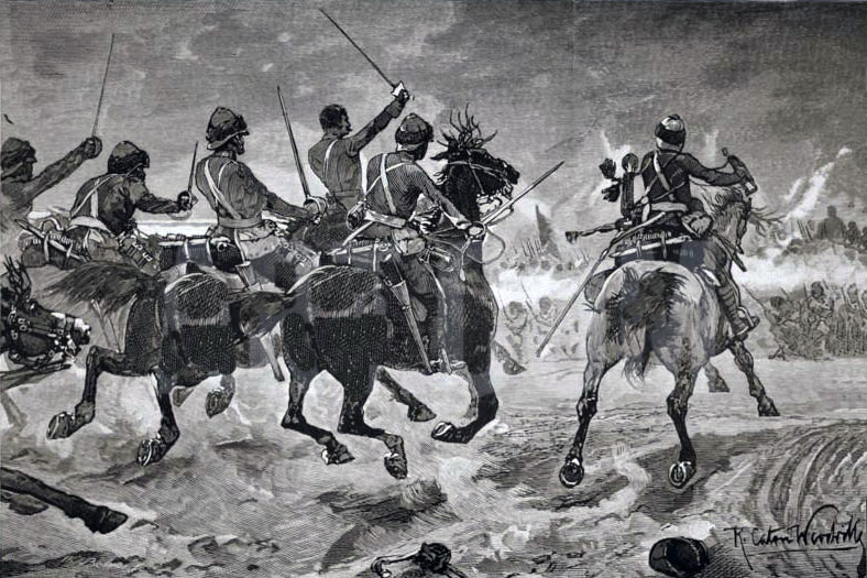 19th Hussars capturing the Abu Klea Wells at the Battle of Abu Klea on 17th January 1885 in the Sudanese War: picture by Richard Caton Woodville