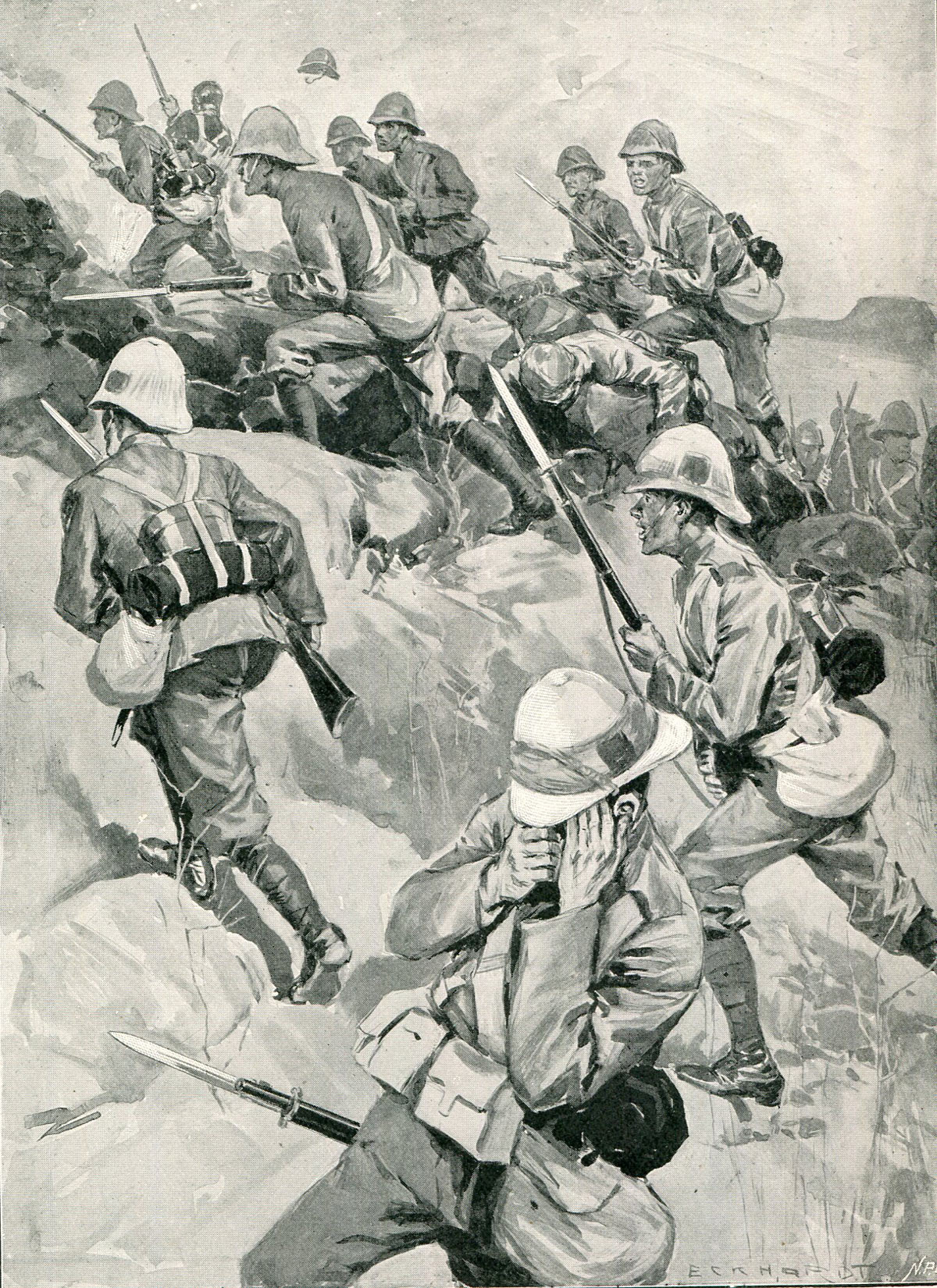 Durham Light Infantry storming Val Krantz: Battles of Val Krantz and Pieters 5th to 28th February 1900 in the Great Boer War: picture by Oscar Eckhardt