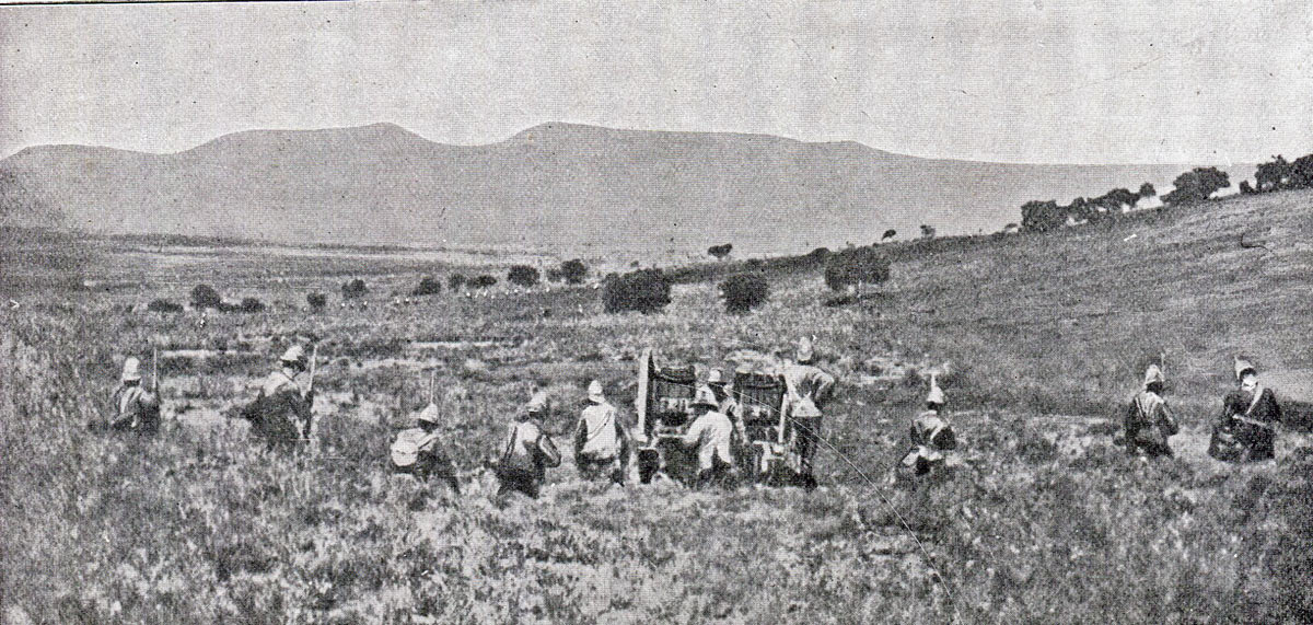 1st Durham Light Infantry moving through the gun line to attack Val Krantz: Battles of Val Krantz and Pieters 5th to 28th February 1900 in the Great Boer War