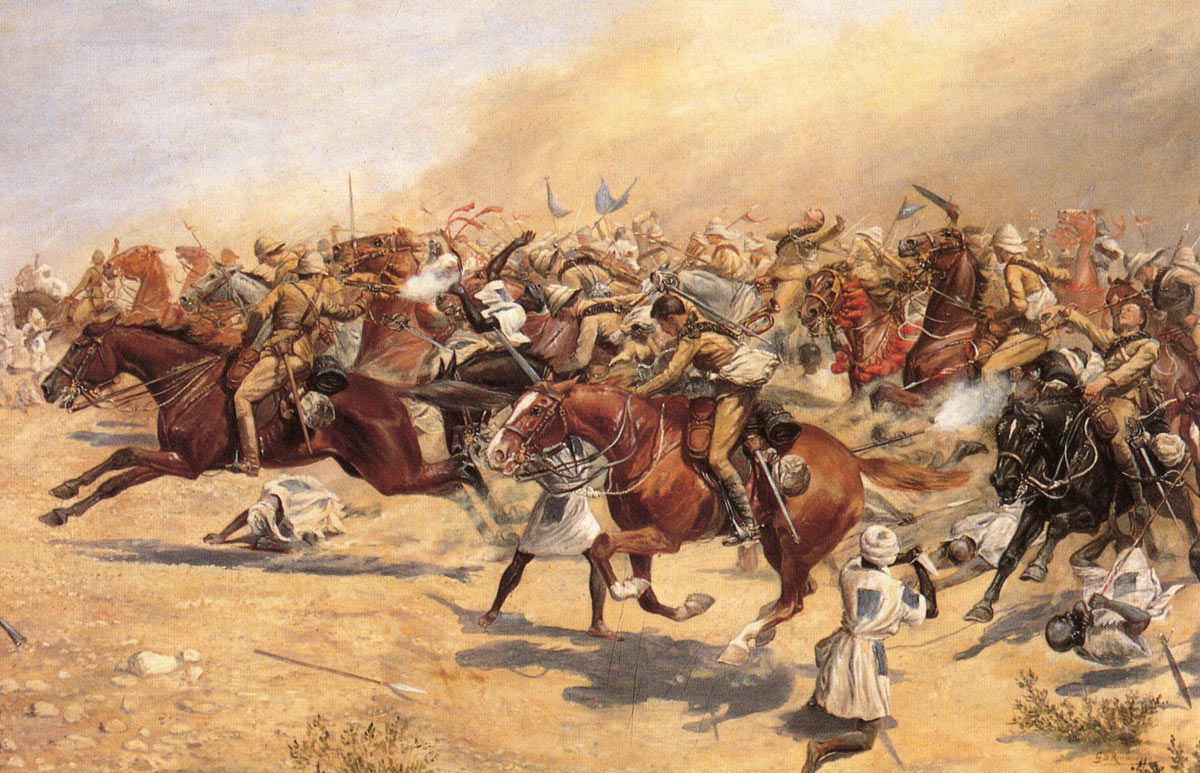 Charge of the 21st Lancers at the Battle of Omdurman on 2nd September 1898 in the Sudanese War: picture by George Delville Rowlandson