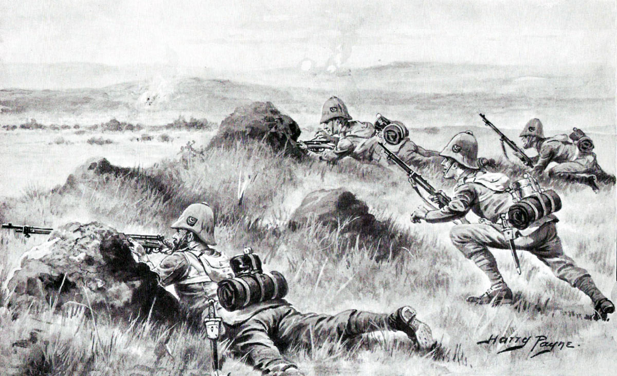 2nd King's Shropshire Light Infantry at the Battle of Paardeburg on 27th February 1900 in the Great Boer War: picture by Harry Payne