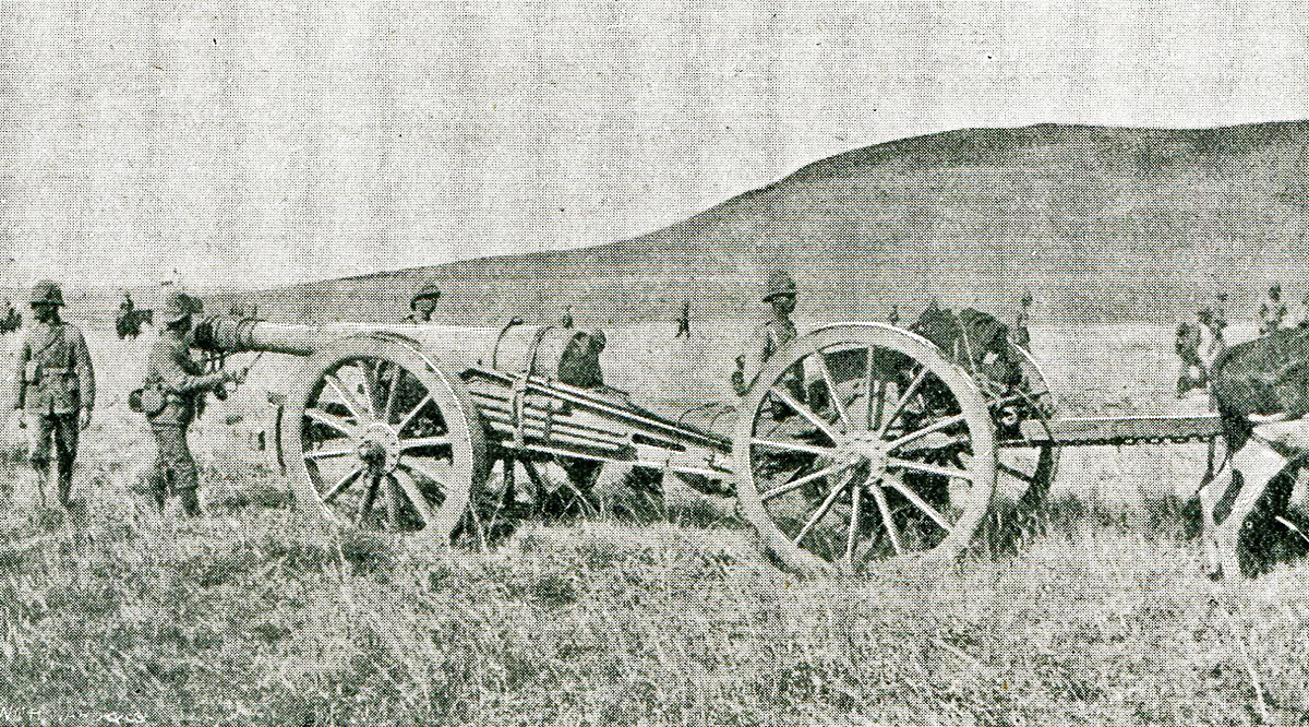 British Army 5 inch gun: Battles of Val Krantz and Pieters 5th to 28th February 1900 in the Great Boer War