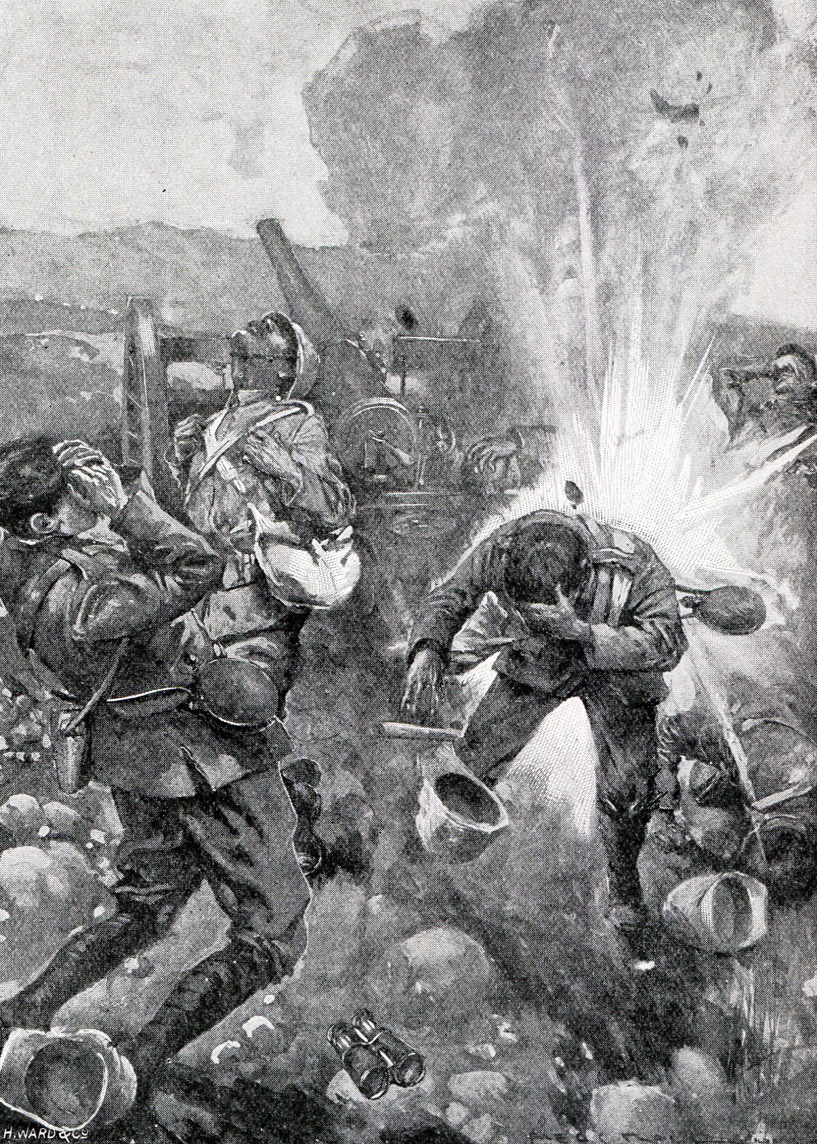 British guns under fire at the Battles of Val Krantz and Pieters 5th to 28th February 1900 in the Great Boer War
