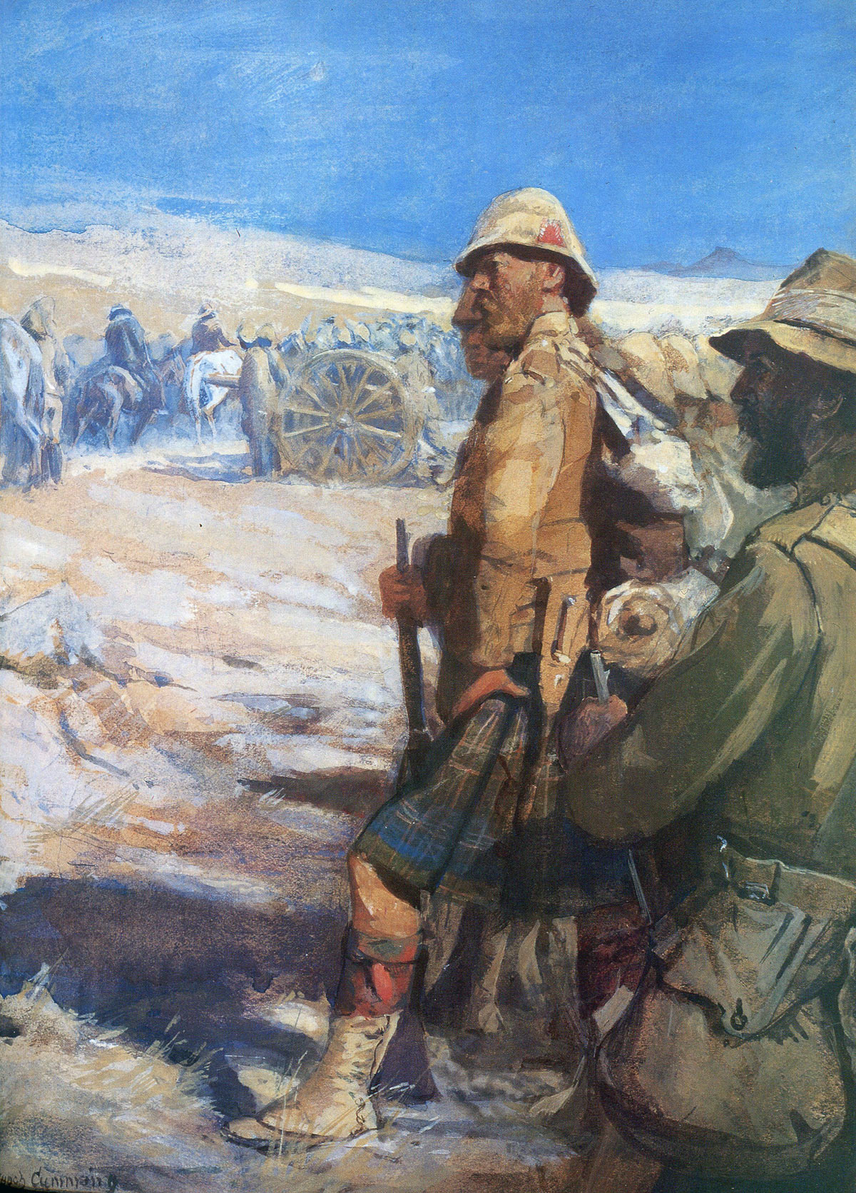 Highlanders at the Boer surrender: Battle of Paardeburg 27th February 1900 in the Great Boer War: picture by Skeoch Cumming