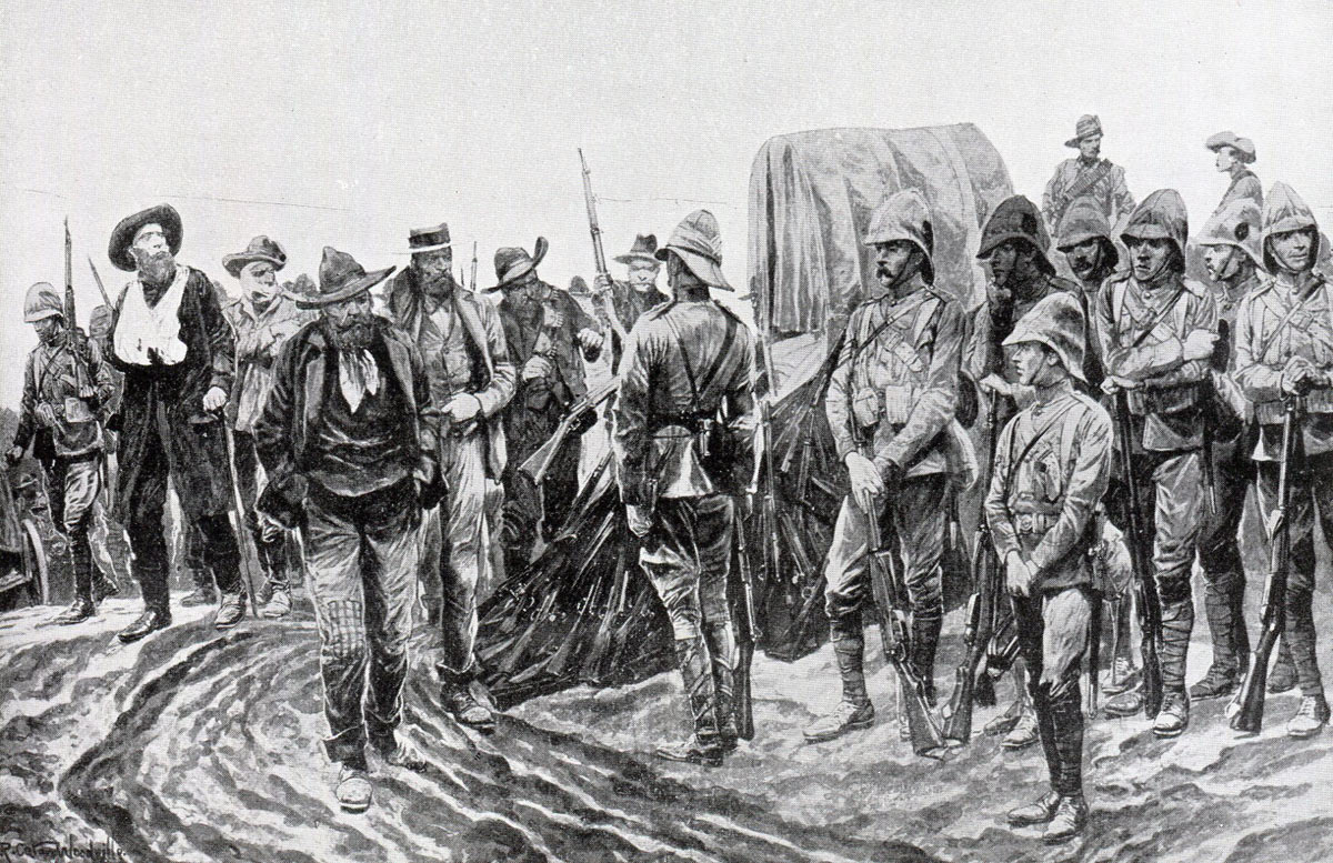 Boers surrender their weapons after the Battle of Paardeburg on 27th February 1900 in the Great Boer War: picture by Richard Caton Woodville