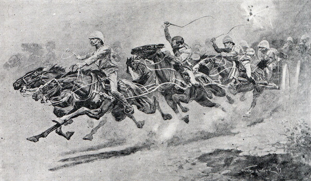 Bringing up the guns at the Battle of Laing's Nek on 28th January 1881 in the First Boer War: picture by Stanley L. Wood