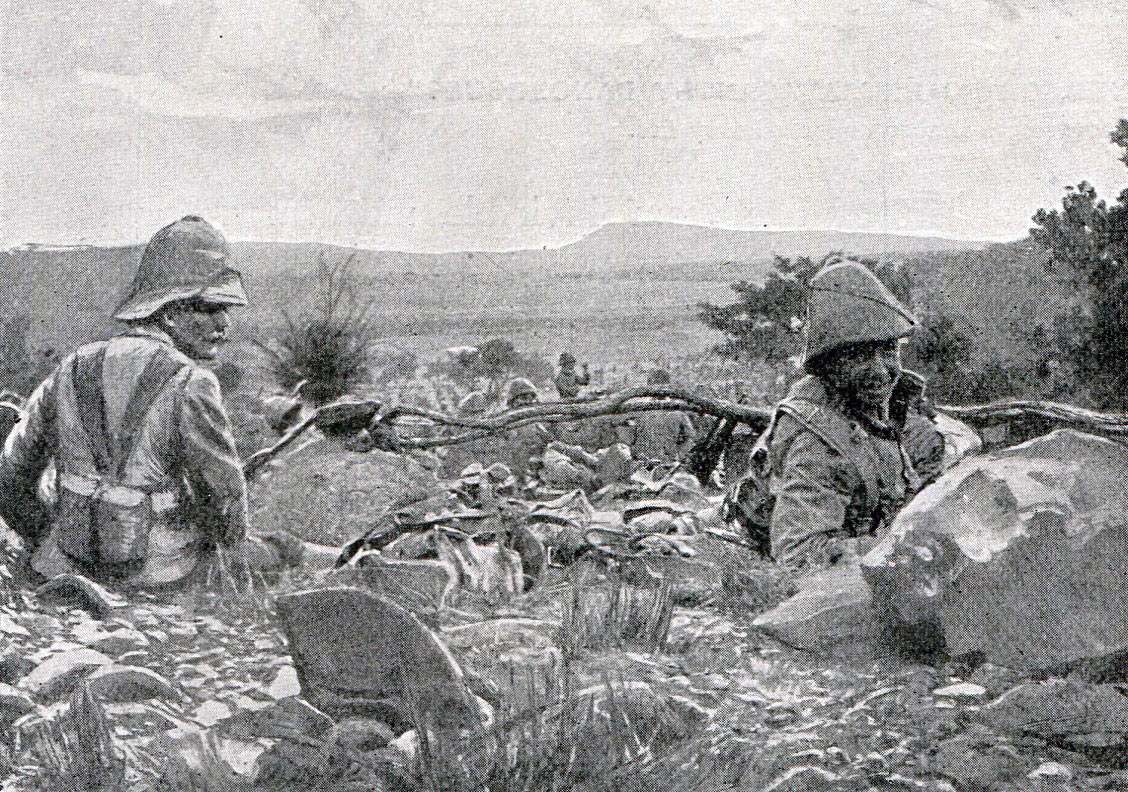 British troops waiting to attack at the Battles of Val Krantz and Pieters 5th to 28th February 1900 in the Great Boer War