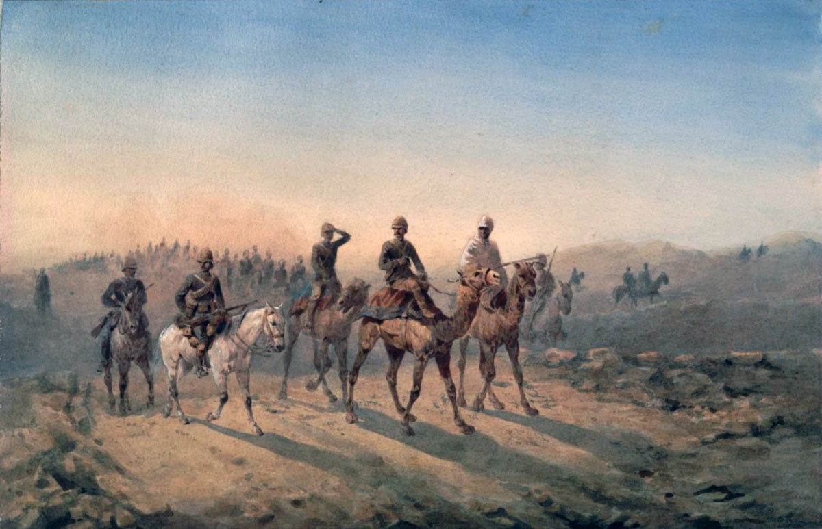 Camel Corps and 19th Hussars crossing the desert: Battle of Abu Klea on 17th January 1885 in the Sudanese War: picture by Orlando Norie