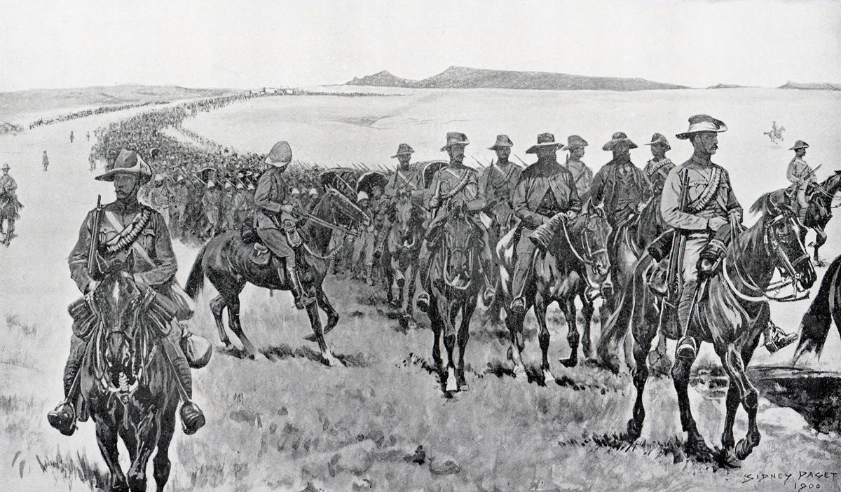 Escorted Boer prisoners heading south after the Battle of Paardeburg on 27th February 1900 in the Great Boer War: picture by Sidney Paget