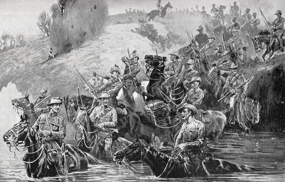 Colonials crossing a spruit under fire: Battles of Val Krantz and Pieters 5th to 28th February 1900 in the Great Boer War: picture by John Charlton