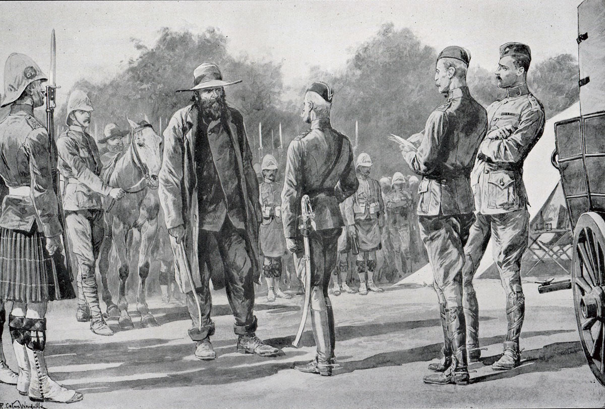 Piet Cronje, Boer Commander, surrenders to Lord Roberts at the Battle of Paardeburg on 27th February 1900 in the Great Boer War: picture by Richard Caton Woodville