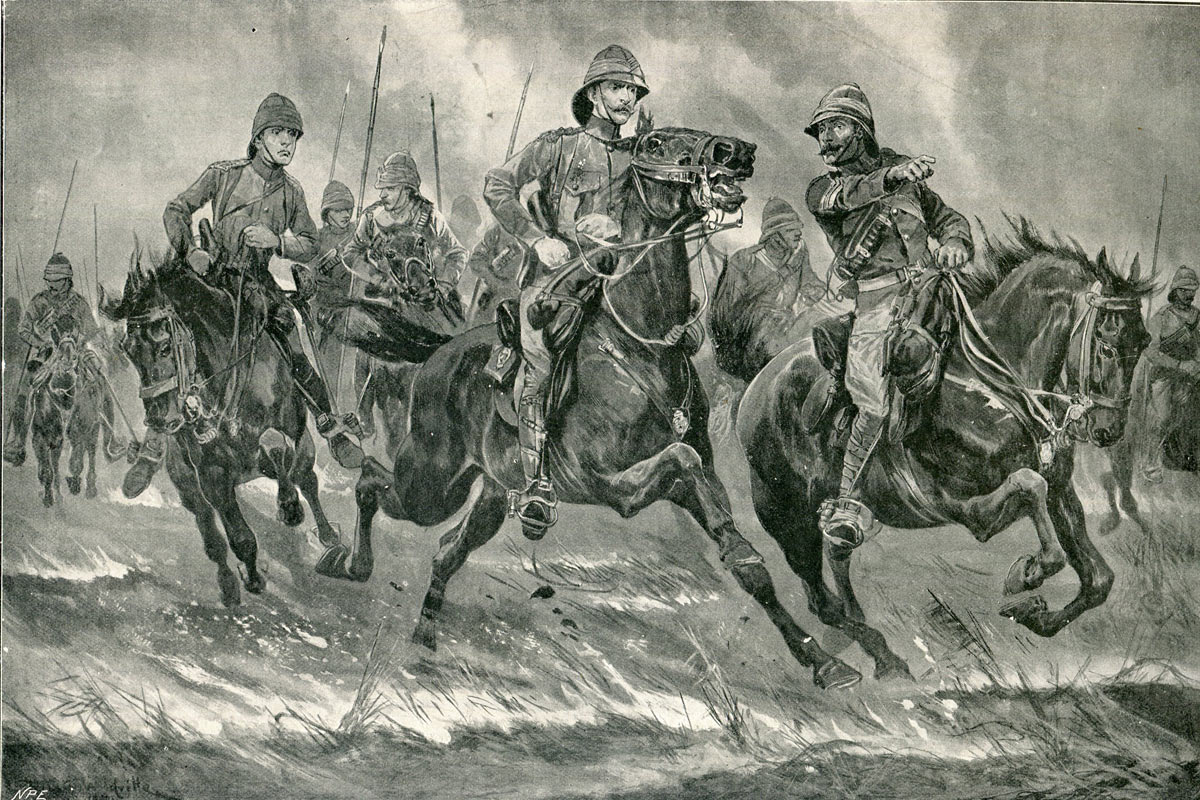 Lord Dundonald's cavalry pursuing the Boers at the end of the Battles of Val Krantz and Pieters 5th to 28th February 1900 in the Great Boer War