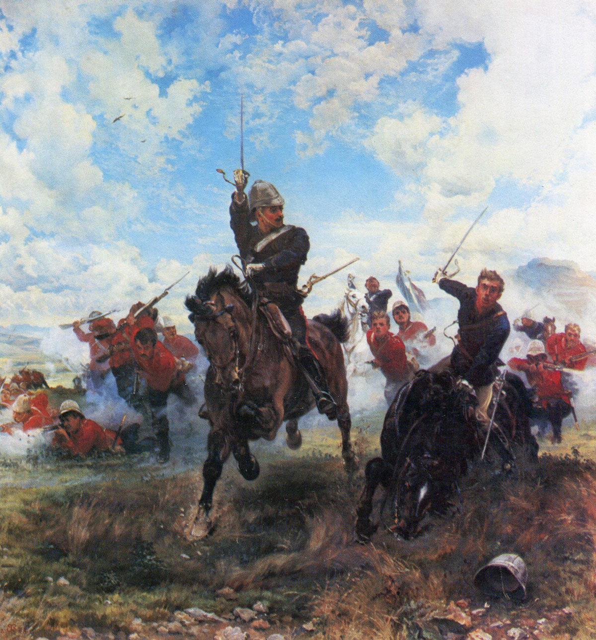 'Floreat Etona': 58th Regiment at the Battle of Laing's Nek on 28th January 1881 in the First Boer War: picture by Lady Butler: buy this picture