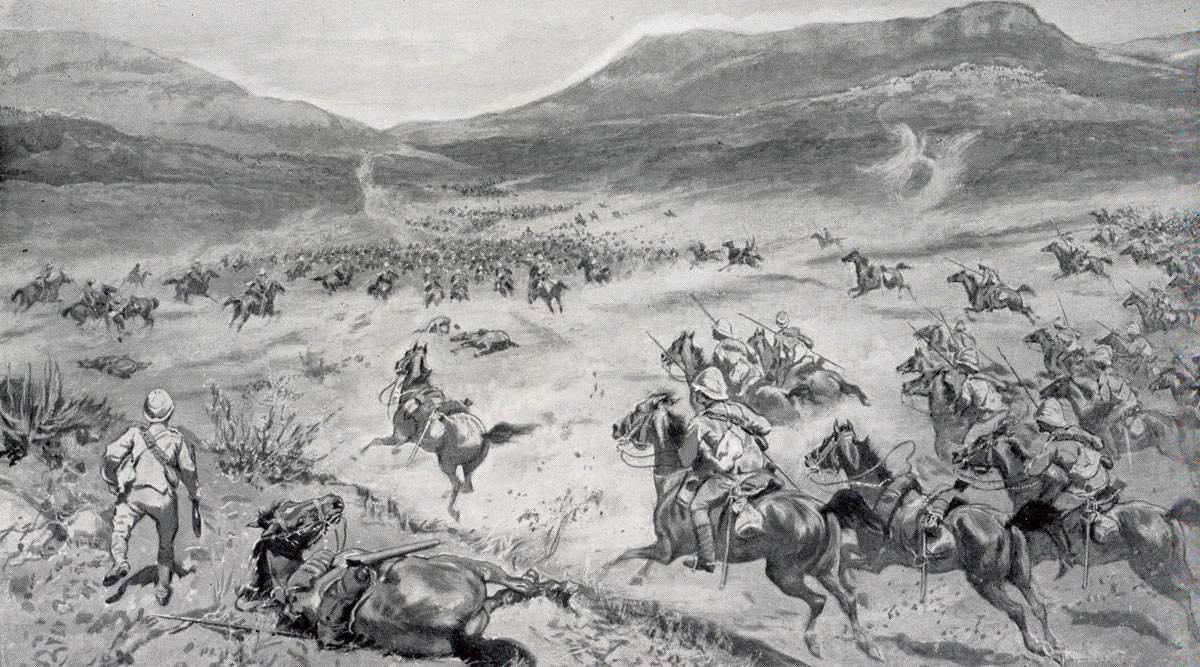 French's Cavalry Division at Klip Drift: Battle of Paardeburg on 27th February 1900 in the Great Boer War: picture by W.S. Small