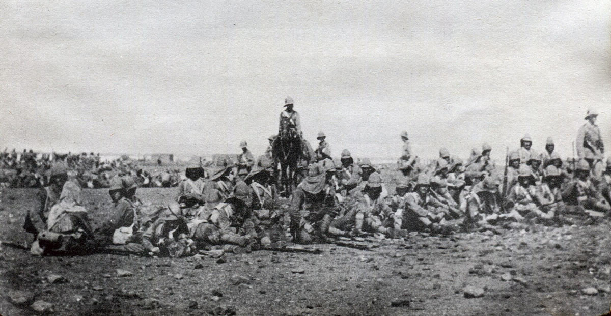 Grenadier Guards between the two attacks in the Battle of Omdurman on 2nd September 1898 in the Sudanese War