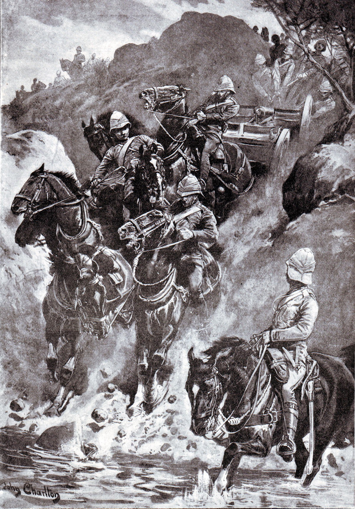 Gunners descending into a spruit during the Battle of Paardeburg on 27th February 1900 in the Great Boer War: picture by John Charlton: buy this picture