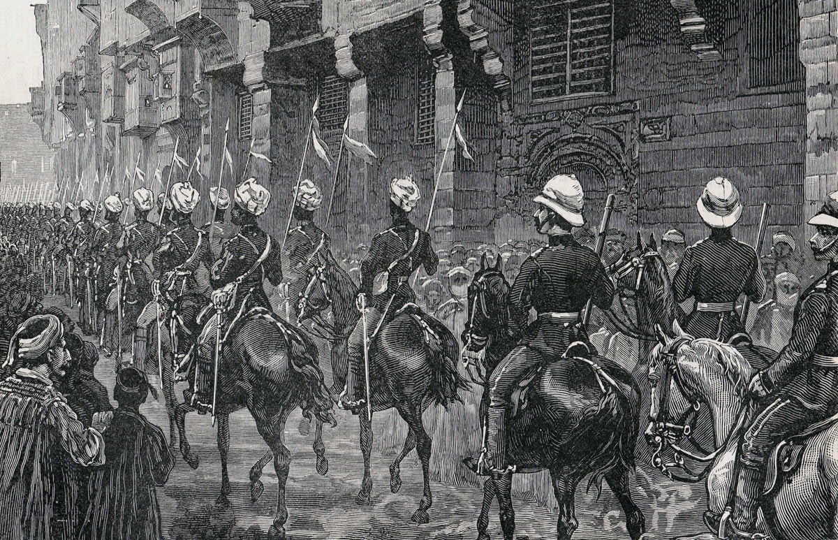 Indian Cavalry entering Cairo after the Battle of Tel-el-Kebir on 13th September 1882 in the Egyptian War
