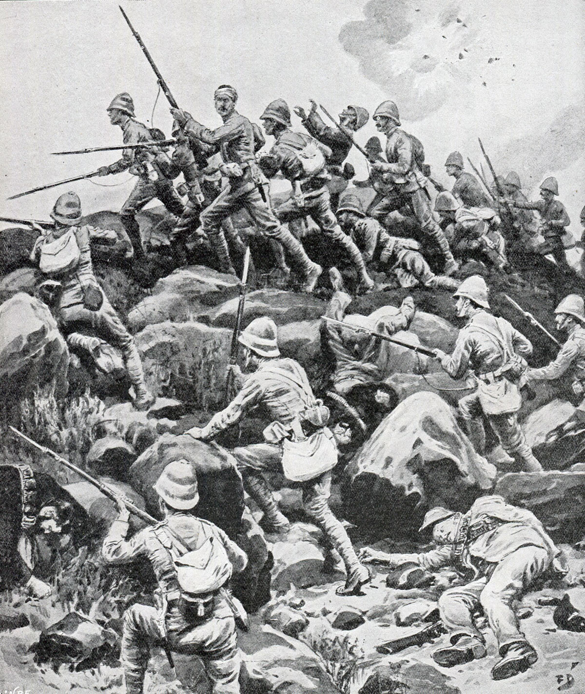 King's Royal Lancasters storming Pieters Hill: Battles of Val Krantz and Pieters 5th to 28th February 1900 in the Great Boer War: picture by F Dadd