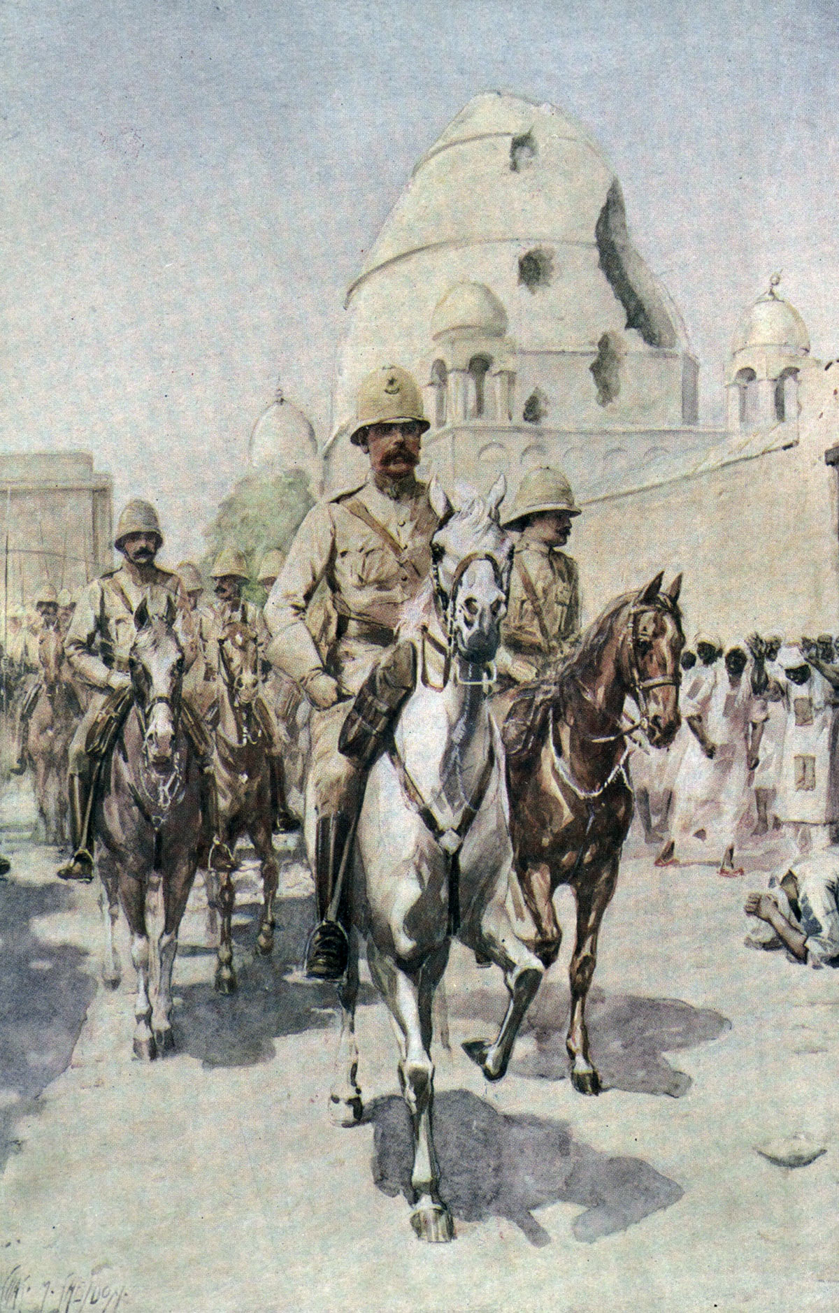 Kitchener enters Omdurman, passing the damaged Mahdi's Tomb, after the Battle of Omdurman on 2nd September 1898 in the Sudanese War