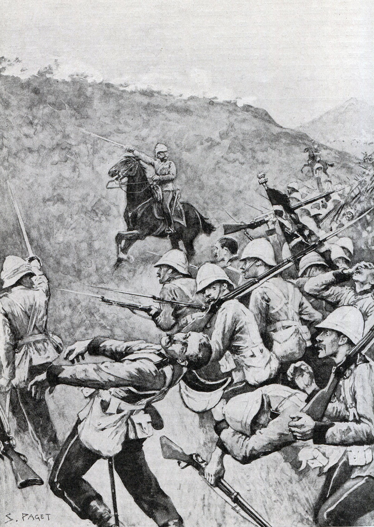 British 58th Regiment, with their Colours, storming the hillside at the Battle of Laing's Nek on 28th January 1881 in the First Boer War: picture by S. Paget