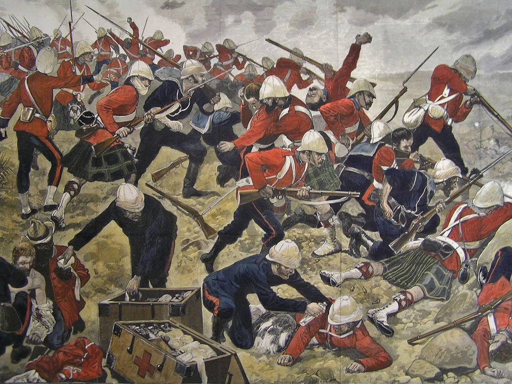 Battle of Majuba Hill on 27th February 1881 in the First Boer War: General Colley is shown on the left: picture by Richard Caton Woodville: buy a black and white version of this picture