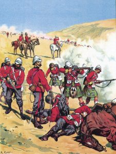British troops at the Battle of Majuba Hill on 27th February 1881 in the First Boer War: picture by Richard Knötel