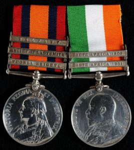Queen's South Africa Medal with clasp for 'Relief of Ladysmith' and King's South Africa Medal: Battles of Val Krantz and Pieters 5th to 28th February 1900 in the Great Boer War