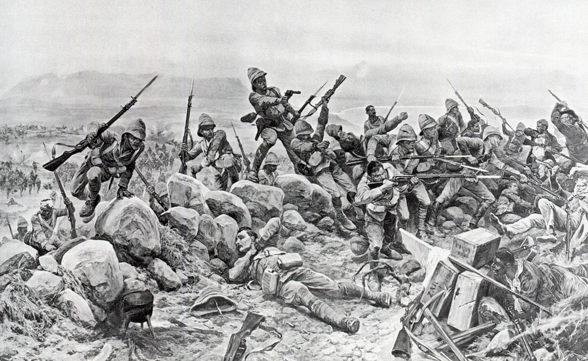 'My Brave Irish': Royal Irish Fusiliers storm Boer positions: Battles of Val Krantz and Pieters 5th to 28th February 1900 in the Great Boer War: picture by Richard Caton Woodville