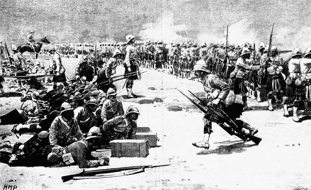Highland troops in the Battle of Omdurman on 2nd September 1898 in the Sudanese War