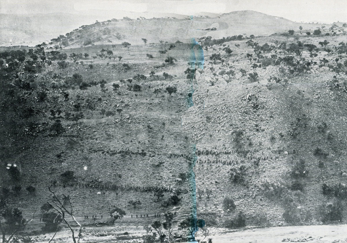 British Sixth Brigade climbing Pieters: Battles of Val Krantz and Pieters 5th to 28th February 1900 in the Great Boer War