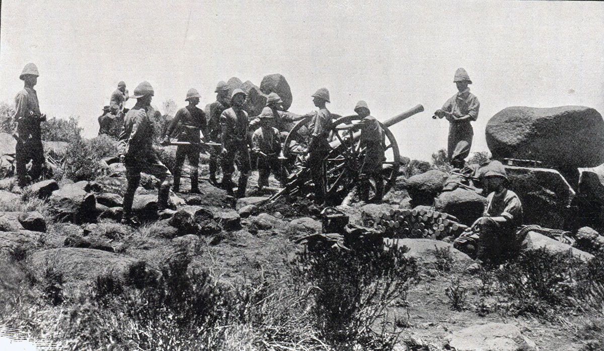 Royal Artillery 15 pounder in action: Battle of Paardeberg on 27th February 1900 in the Great Boer War