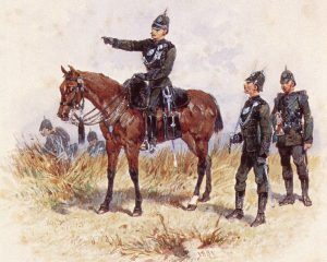 Rifles on exercise in England: Battle of Laing's Nek on 28th January 1881 in the First Boer War: picture by Orlando Norie