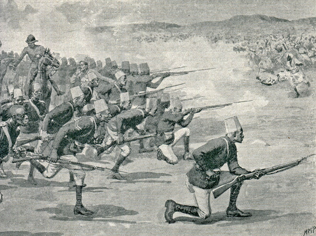 Sudanese troops of Maconald's brigade at the Battle of Omdurman on 2nd September 1898 in the Sudanese War