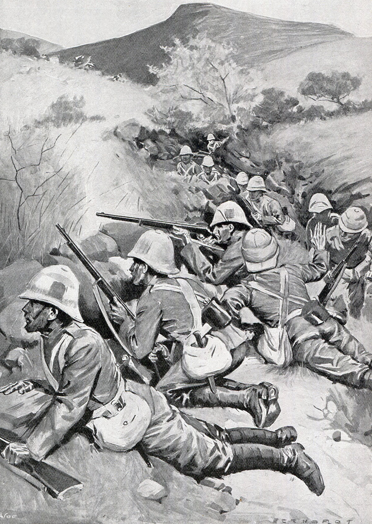 Surreys on Monte Cristo: Battles of Val Krantz and Pieters 5th to 28th February 1900 in the Great Boer War: picture by Oscar Eckhardt