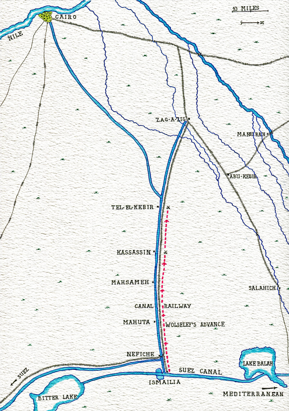 Map of the Tel-el-Kebir campaign, showing Wolseley's advance from Ismailia to Tel-el-Kebir: Battle of Tel-el-Kebir on 13th September 1882 in the Egyptian War: map by John Fawkes