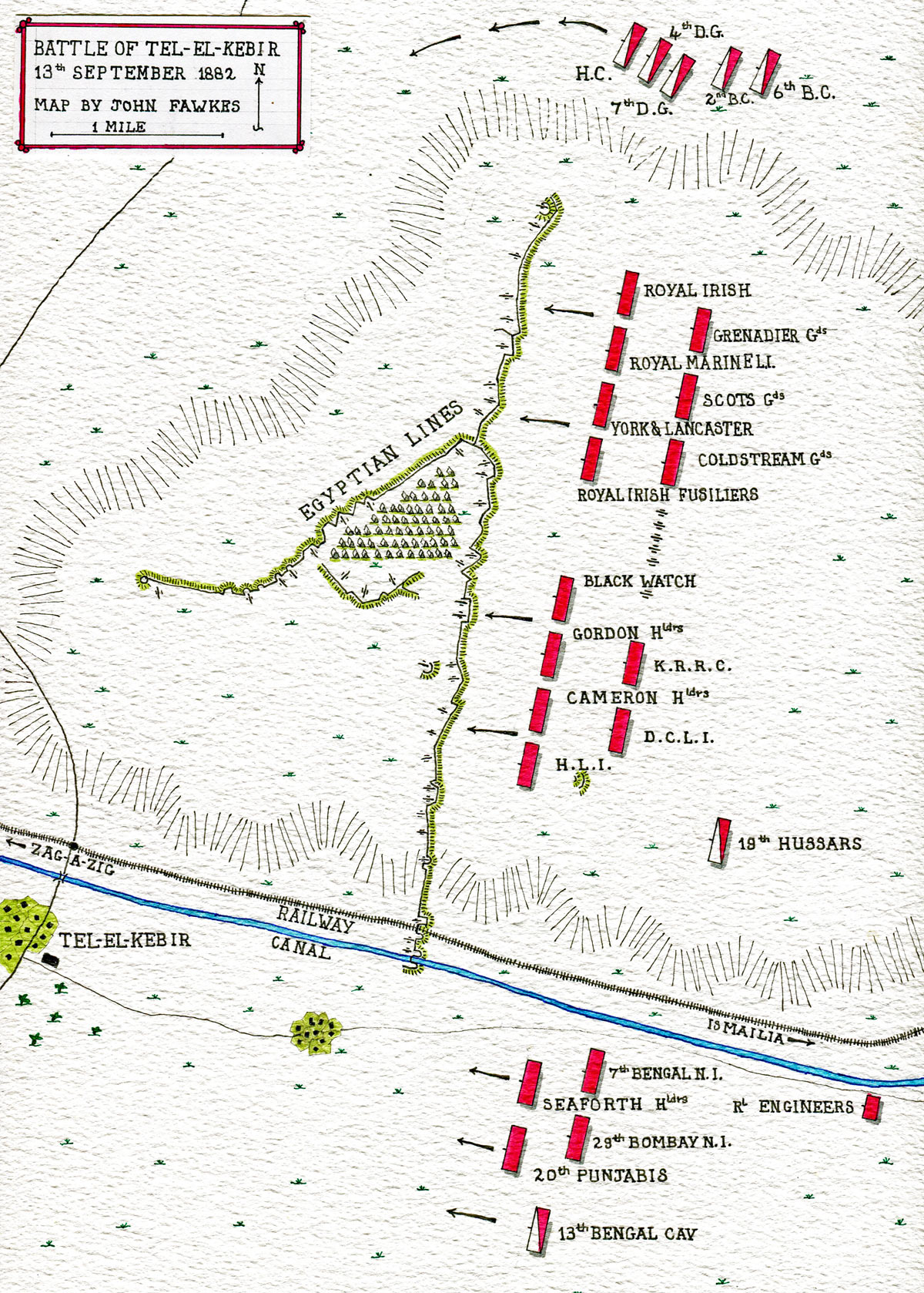 Map of the Battle of Tel-el-Kebir on 13th September 1882 in the Egyptian War: map by John Fawkes