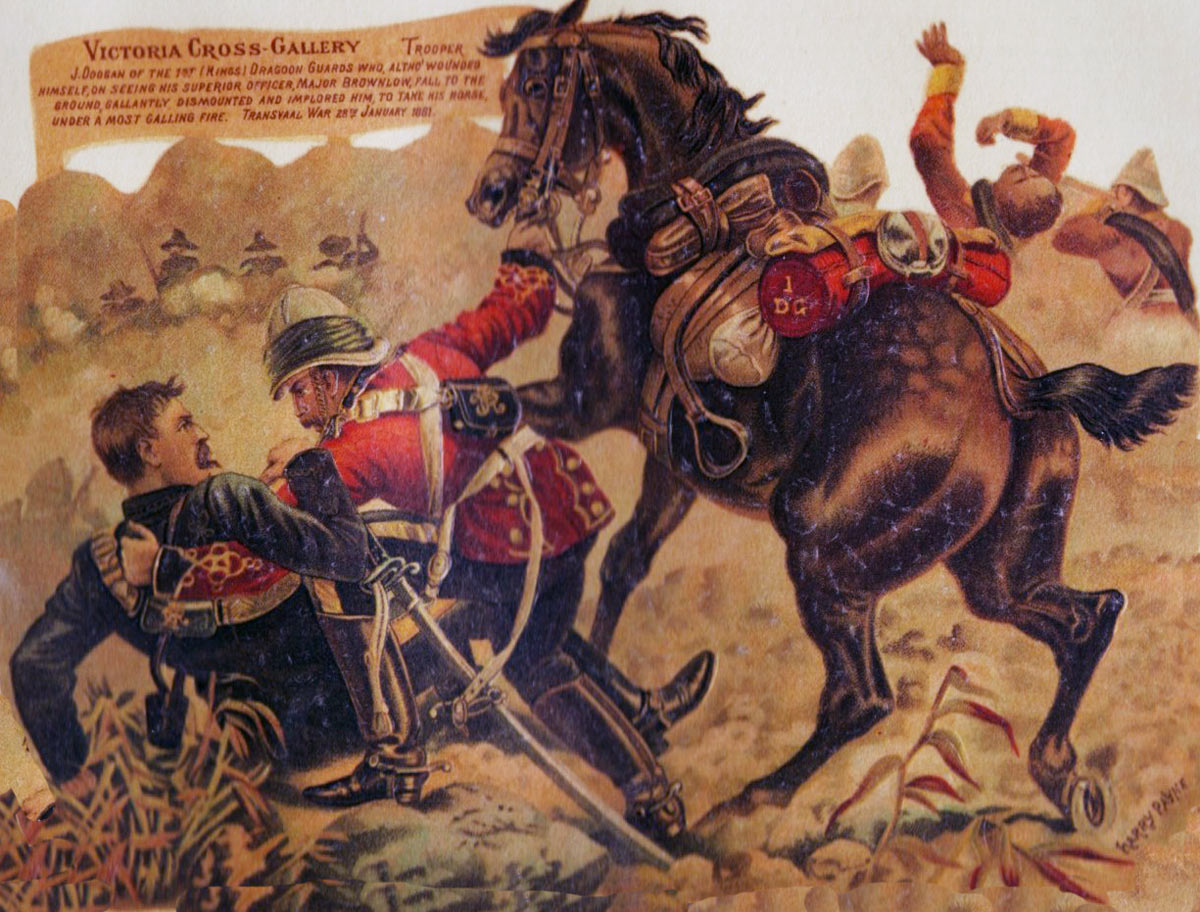 Trooper Doogan of the 1st King's Dragoon Guards winning the Victoria Cross at the Battle of Laing's Nek on 28th January 1881 in the First Boer War: picture by Harry Payne