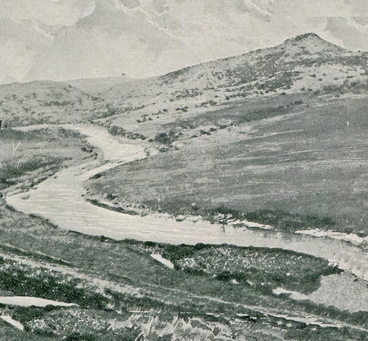 Val Krantz viewed across the Tugela River: Battles of Val Krantz and Pieters 5th to 28th February 1900 in the Great Boer War